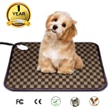 """Pet Heating Pad Electric Warming Mat - Auto Power Off Heated Cat & Dog Bed with UL Listed Adapter and Chew Resistant Steel Cord (18"""" x 18"""")"""