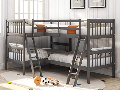 L-Shaped Twin Size Bunk Bed and Loft Bed