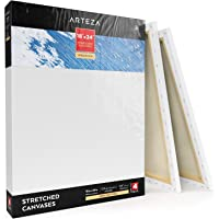 "ARTEZA 18x24"" Stretched White Blank Canvas, Pack of 4, Primed, 100% Cotton, Acrylic Pouring, Oil Paint & Wet Art Media, Canvases for Professional Artist, Hobby Painters, 18x24 Pack of 4, Premium - 4 Pack"