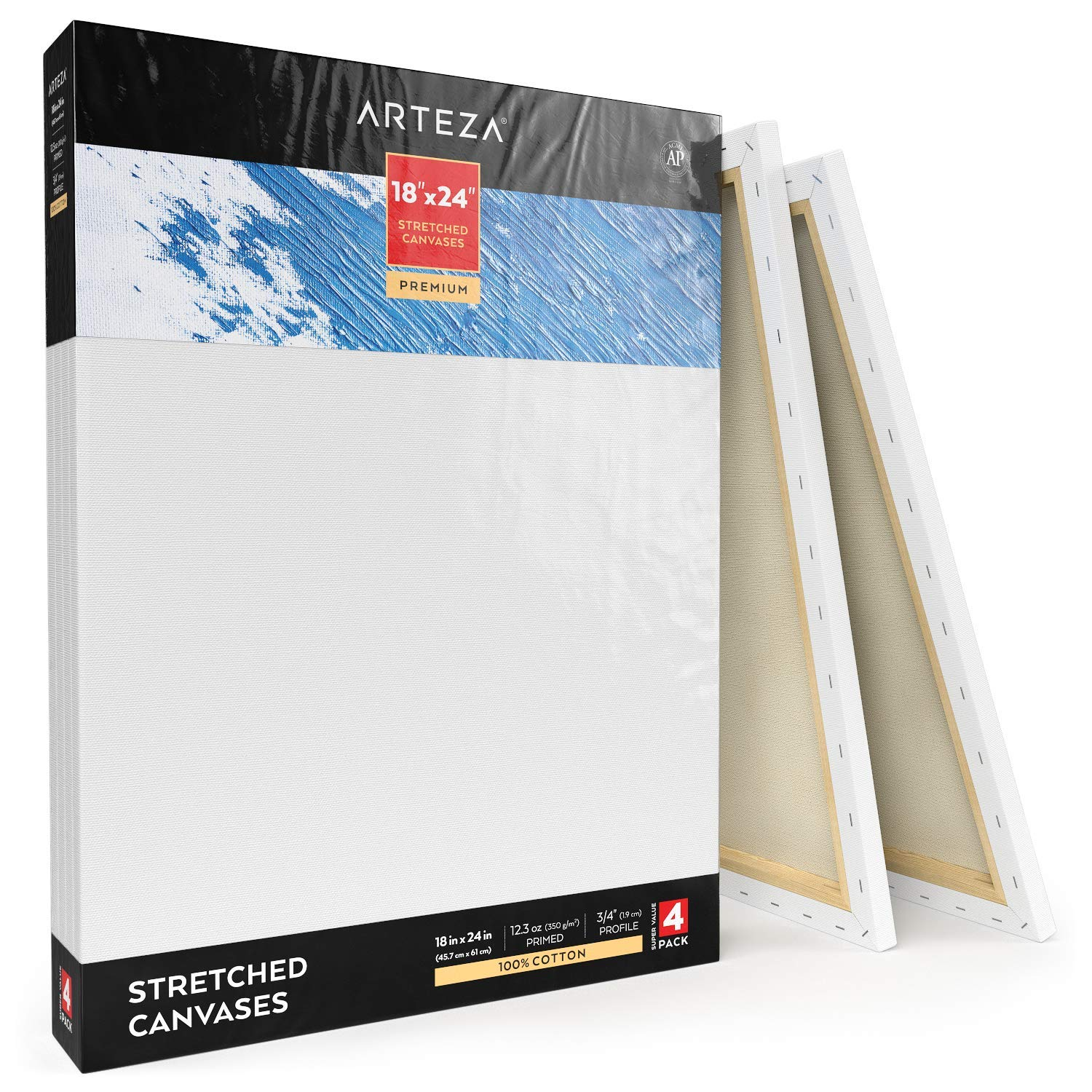 Arteza 18x24'' Professional Stretched White Blank Canvas, Bulk Pack of 4, Primed, 100% Cotton for Painting, Acrylic Pouring, Oil Paint & Wet Art Media, Canvases for Artist, Hobby Painters & Beginner