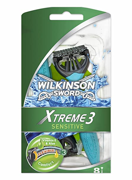 Wilkinson Sword Xtreme 3 Sensitive - Maquinillas de Afeitar Desechables con 3 Hojas Flexibles y Banda
