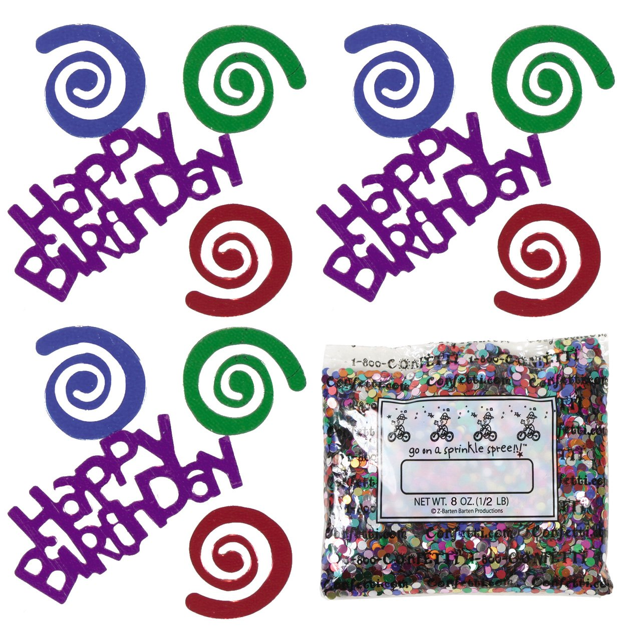 Confetti MultiShape Birthday Curly Q Mix - One Pound Bag (16 oz) Free Priority Mail --- (CCP9516)