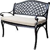 Lazy Susan Furniture - Jasmine Metal Garden Bench, Antique Bronze (Stone cushion)