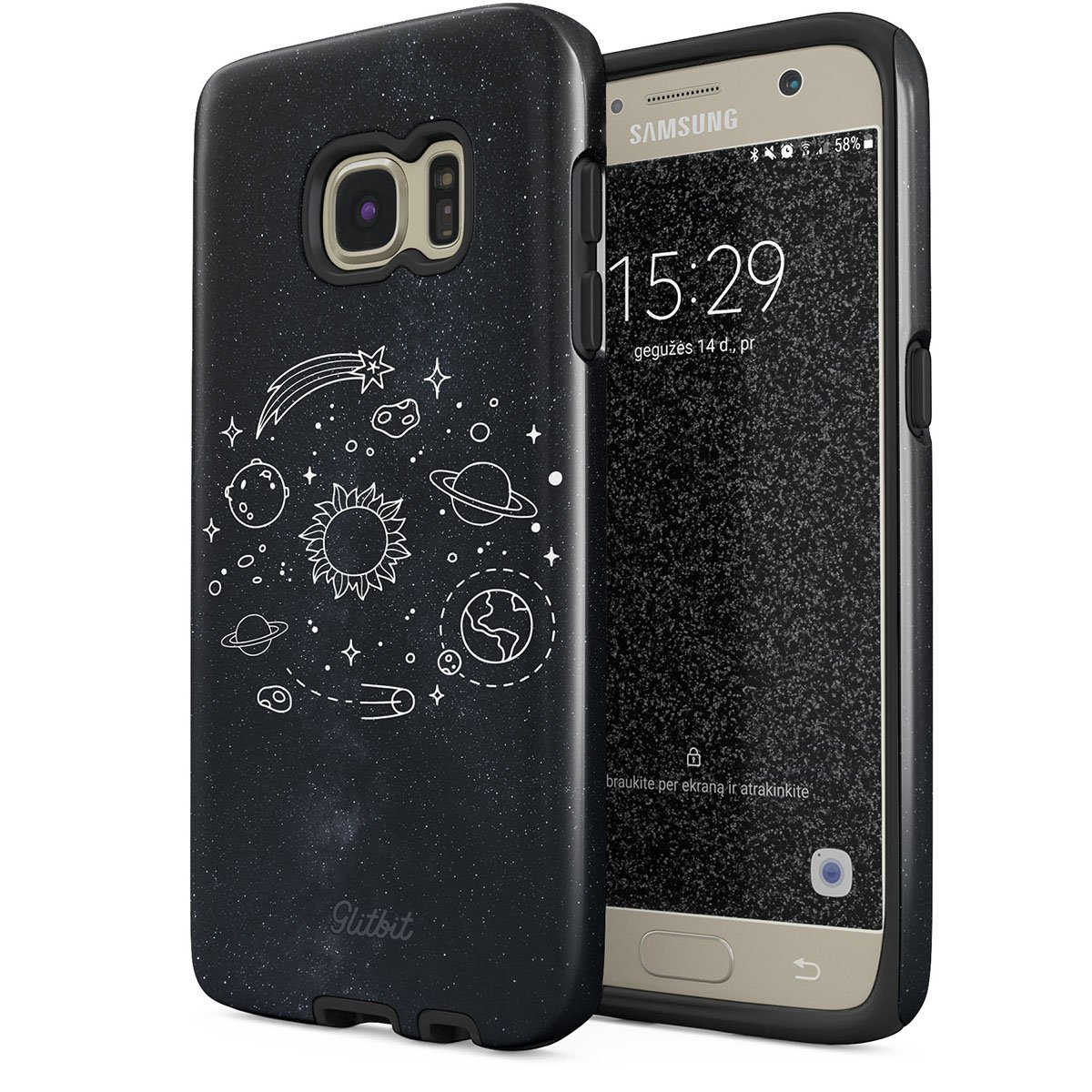 Glitbit Samsung Galaxy S6 Case Cute Solar System Galaxy Stars Planet Sun Earth Moon Universe Cosmic Cosmos Space Tumblr Heavy Duty Shockproof Dual Layer Hard Shell + Silicone Protective Cover