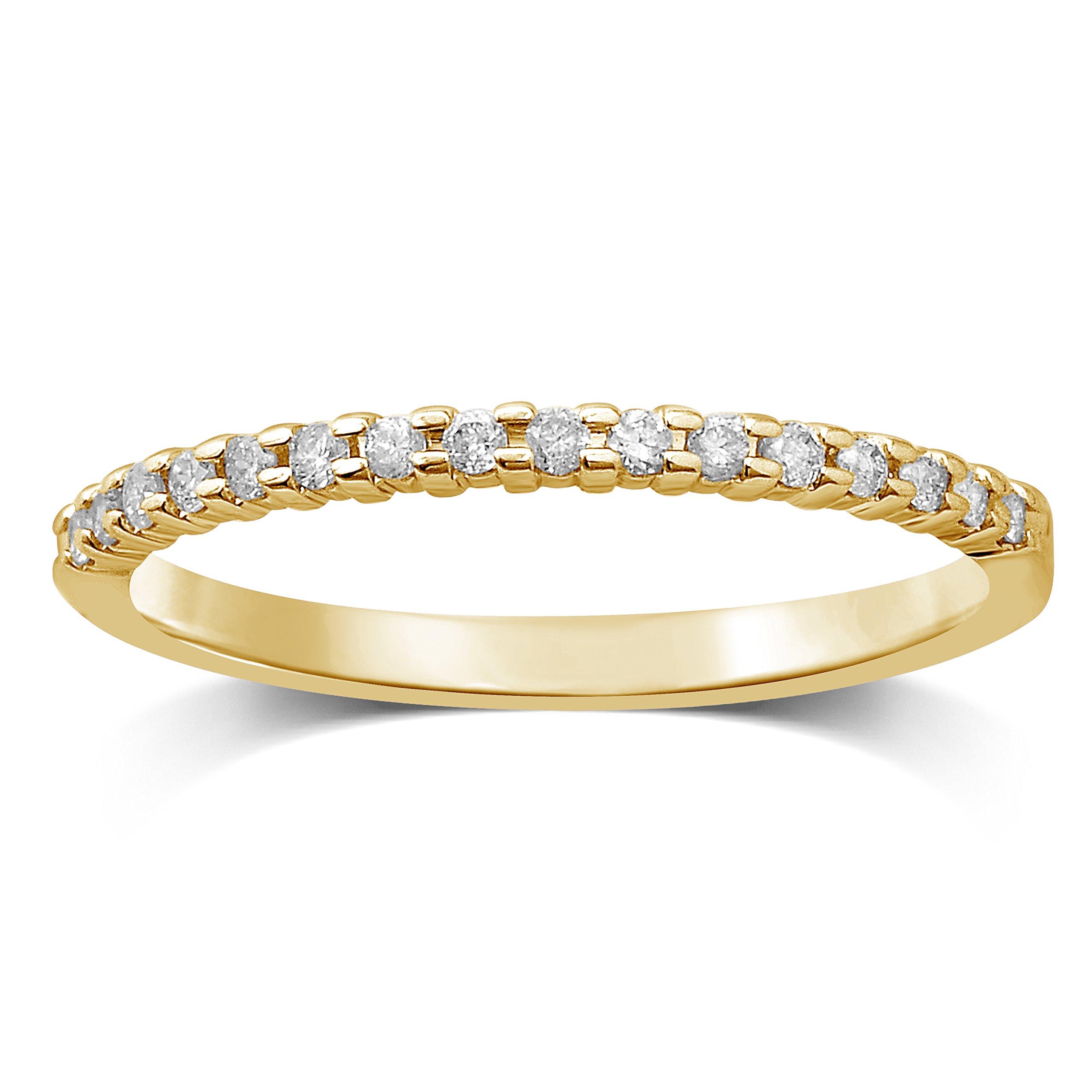 Diamond Jewel 10K Yellow Gold 1/7 cttw Diamond Stackable Ring