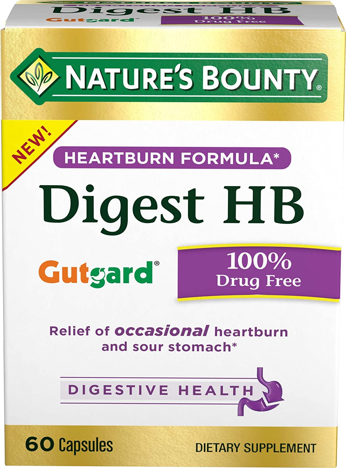 Nature's Bounty Dietary Supplement, Supports Digestive and Heart Burn Pills 60 Capsules