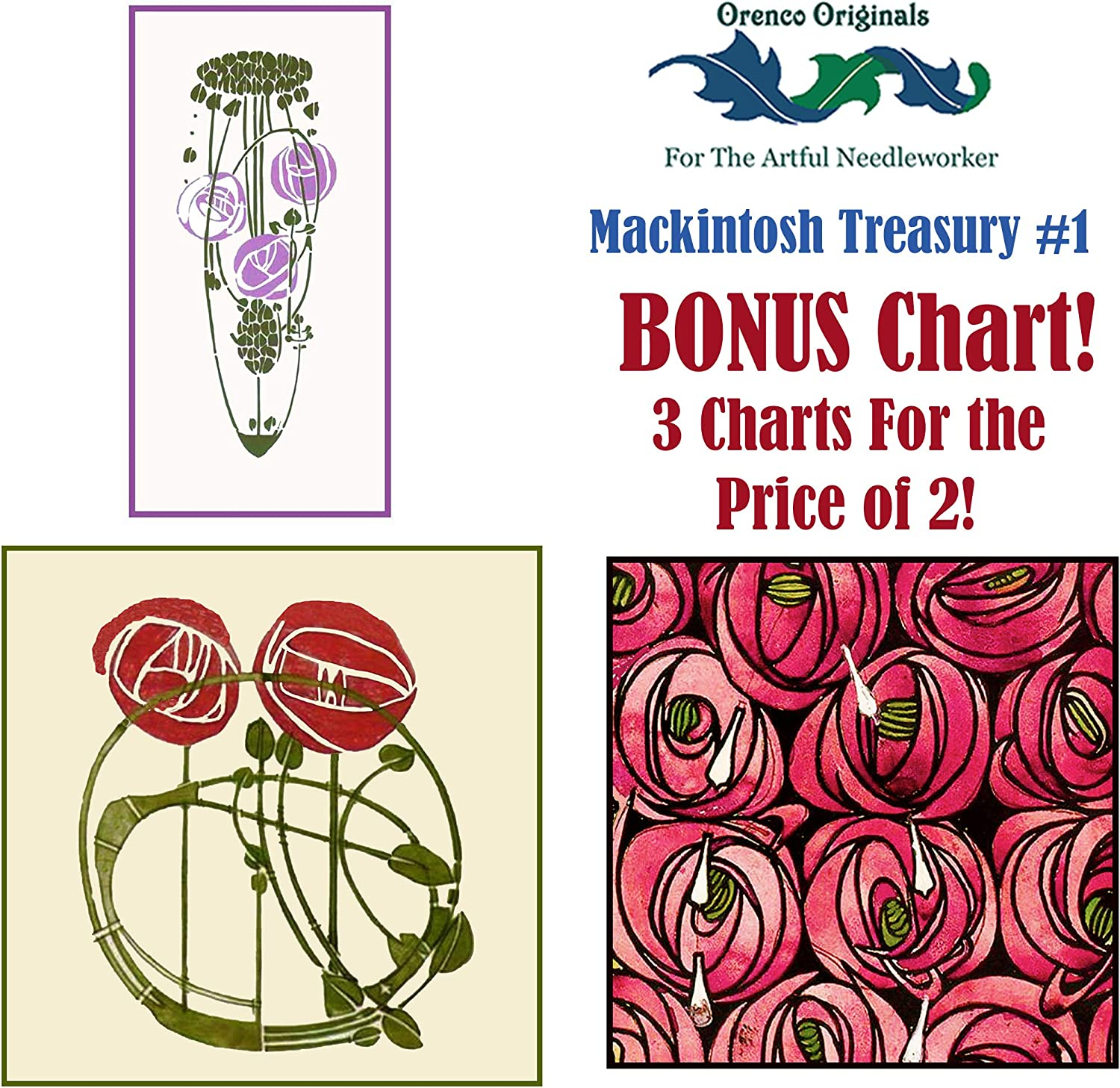Charles Rennie Mackintosh Deluxe Treasury #1-3 Counted Cross Stitch Patterns Charts