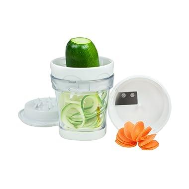 Paderno World Cuisine 2-Blade Handheld Turning Vegetable Slicer / Spiralizer, includes 2 Different Stainless Steel Blades