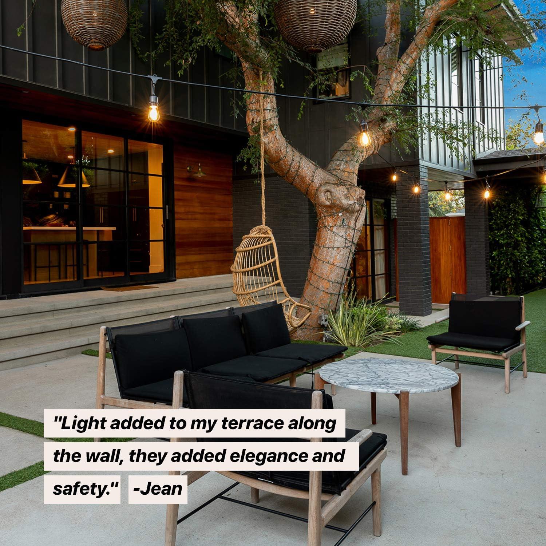 Brightech Ambience Pro - Cadena de luces LED solares impermeables para exteriores (1 W, bombillas Edison vintage, 48 pies, luces resistentes para patio, crea ambiente de café en tu porche, luz blanca