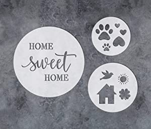 GSS Designs Home Sweet Home Stencil - Pack of 3 Circle Stencils for Painting - Reusable Mylar Stencils for Painting on Wood Door Signs - Assorted Size Circles