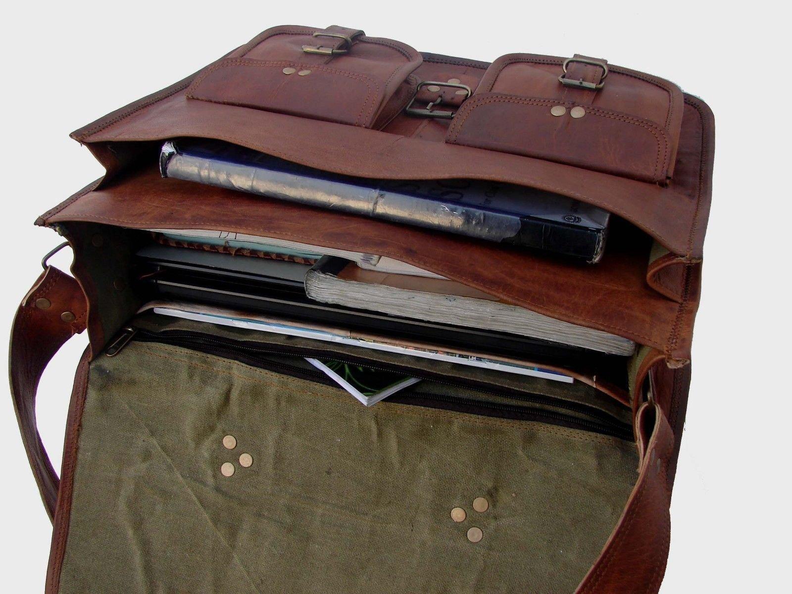 Leather Laptop Messenger Retro Bag Vintage Office Briefcase College Bag 16 Inch