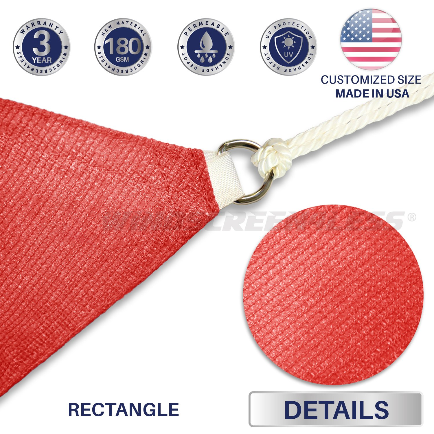 Windscreen4less 10 x 15 Rectangle Sun Shade Sail with 6 inch Hardware Kit – Rust Red Durable UV Shelter Canopy for Patio Outdoor Backyard – Custom
