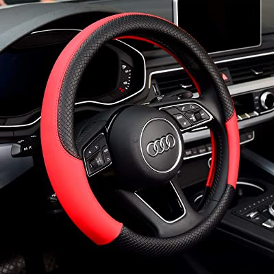 Labbyway Steering Wheel Covers Microfiber Leather Auto Universal 15 inch, Breathable, Anti-Slip, Warm in Winter and Cool in Summer,Red: Automotive