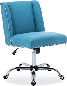 Belleze Upholstered Fabric Office Nailhead Trim Swivel Task Chair Height Adjustable, Blue