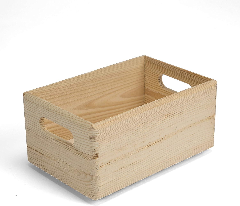 Amazinggirl Caja de Madera sin Tapa - Cajas almacenaje para Decorar Pintar decoupage Regalo de Uso múltiple Cofre del Tesoro 30 x 20 x 14 cm