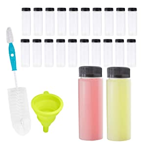 Empty PET Plastic Juice Bottles - Pack of 20 Round Reusable Clear Disposable Milk Bulk Containers with Funnel and Brush and Tamper Evident Caps (Black, 4 oz)