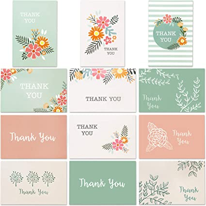 assorted designs blank inside Multi Thank You Cards set of 4