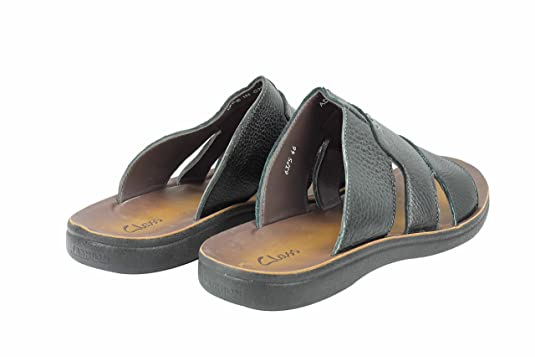 Mens Black Real Leather Big Size Sandals Beach Walking Flip Flop Open Front  Toe Slippers: Amazon.co.uk: Shoes & Bags