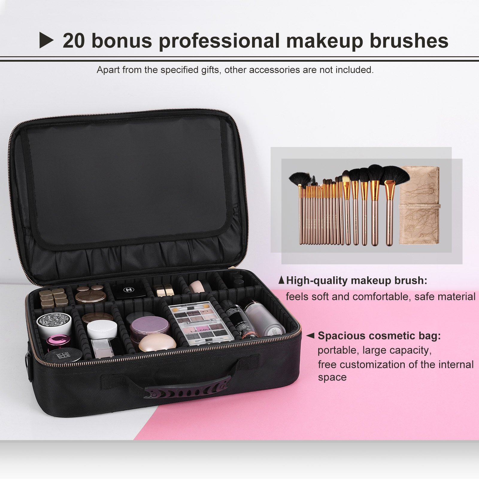 Songmics Makeup Train Case With 9 Adjustable Dividers, Hard Shell