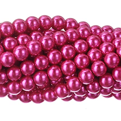 824227821ac5c RUBYCA 200Pcs Czech Tiny Satin Luster Glass Pearl Round Beads Beading  Jewelry Making 12mm Fuchsia