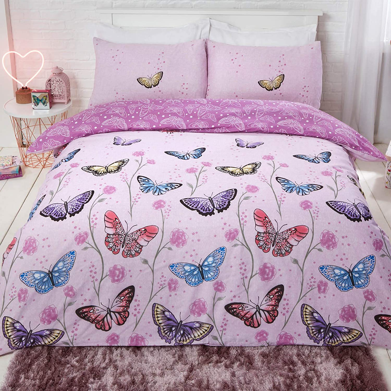 Butterfly Modern Quilt Duvet Cover /& Pillowcase Bedding Bed Sets Pink Or Purple