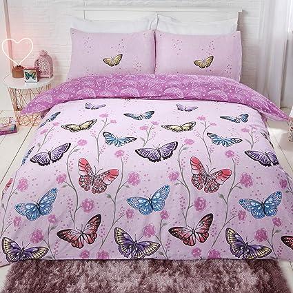 Multi Butterfly Red Blue Bedding Duvet Cover Set w//Pillowcase Single Double King
