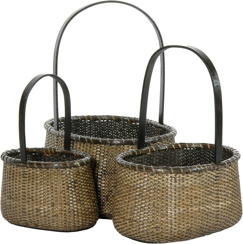 Oriental Furniture Rattan Round Handle Basket ( Set of 3 )