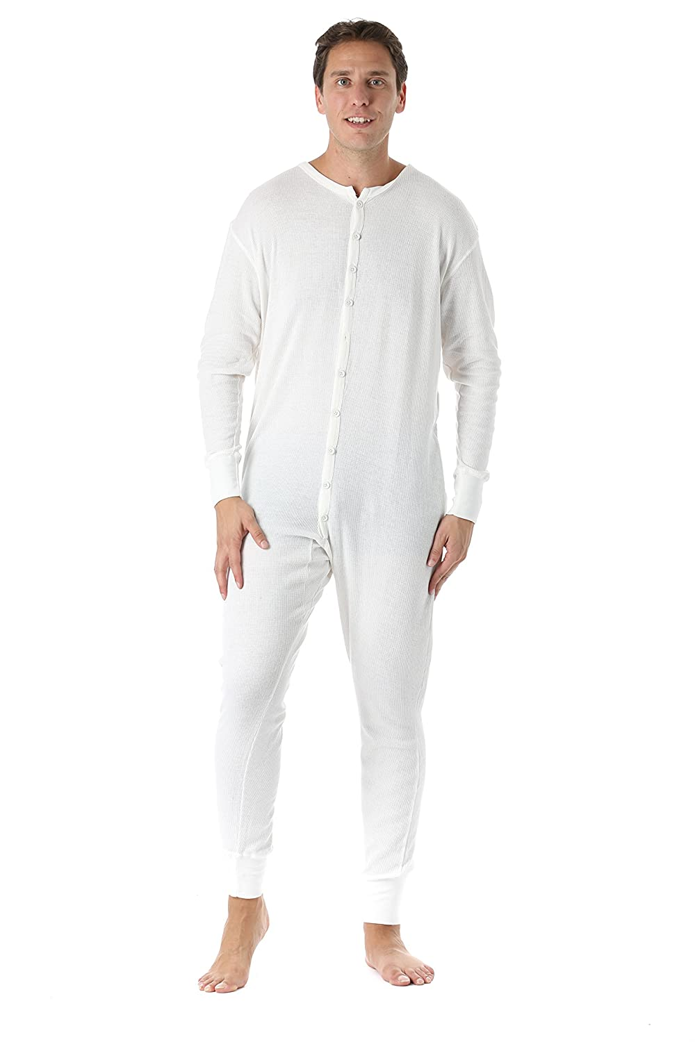 Men's Steampunk Clothing, Costumes, Fashion #followme Mens Solid Thermal Henley Adult Onesie $19.99 AT vintagedancer.com