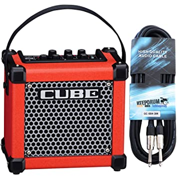 Roland Micro Cube GX Guitarra Amplificador + Keepdrum Guitarra Cable 3 m, rojo
