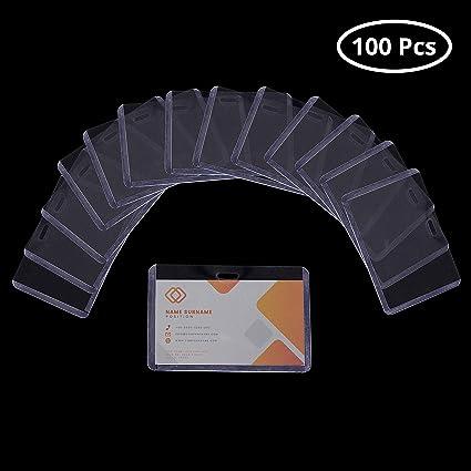 100 Pezzi di Plastica Trasparente Nome Orizzontale Tag Distintivo Titolari di Carta di Identificazione
