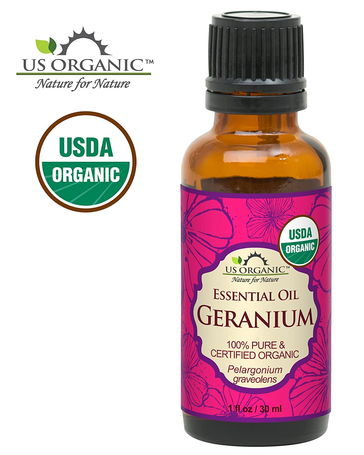 US Organic 100% Pure Geranium Essential Oil - USDA Certified Organic, Steam Distilled - W/Euro droppers (More Size Variations Available) (10 ml/.33 fl oz) US Organic Group Corp