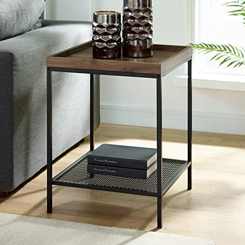 WE Furniture AZF18EMISTDW Industrial Farmhouse Square Side End Accent Table Living Room, Dark Walnut