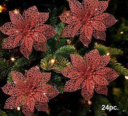 poinsettia ornaments pack of 24 glitter poinsettia flowers with metal clip holiday decorations - Flower Christmas Ornaments