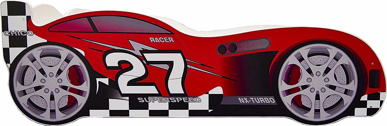 Children Kids Racing Car Bed 160 x 80 cm Toddler Junior Mattress UK Manufacturer (White) Kidibed