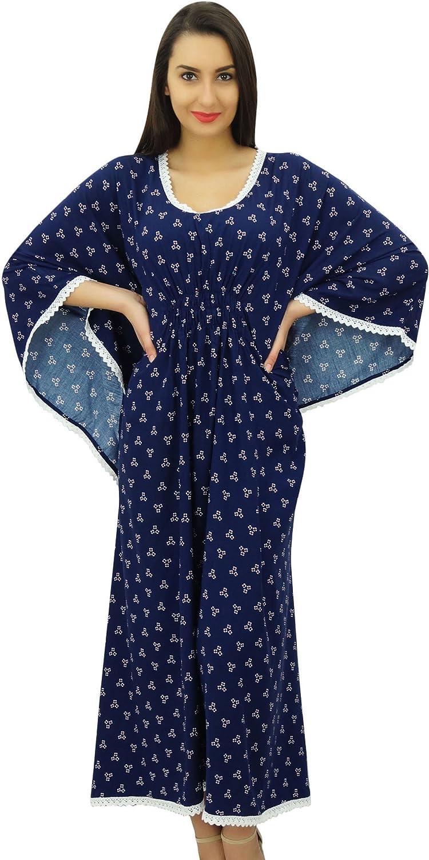 Indian Cotton Kaftan Night Cover up Beach Maxi Hand Block Print Kurta Party Dressing Gown Tunic Long Robe Top Boho Plus Size Vintage Kimono