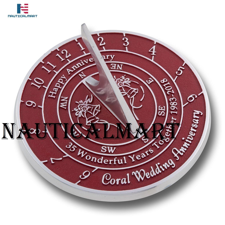 NauticalMart 35 Coral Wedding & Anniversary Sundial Gift