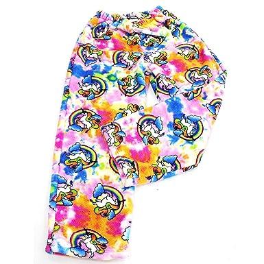 ce8b2bc5af Confetti and Friends Fuzzy Plush Pajama Pants - Rainbow Unicorn - 5 6