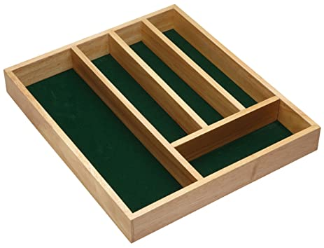 Kitchen Craft Wooden Cutlery Tray with Five Sections