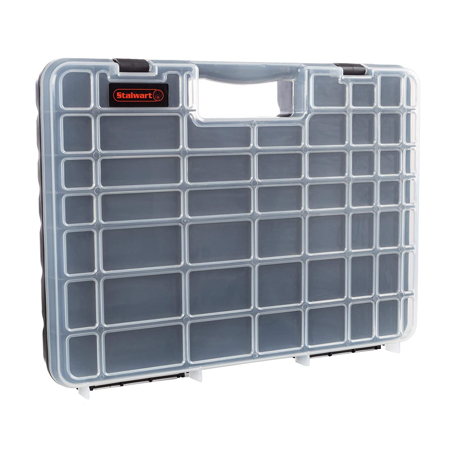 Portable Storage Case with Secure Locks and 55 Small Bin Compartments for Hardware Screws Bolts Nuts Nails Beads Jewelry and More by Stalwart