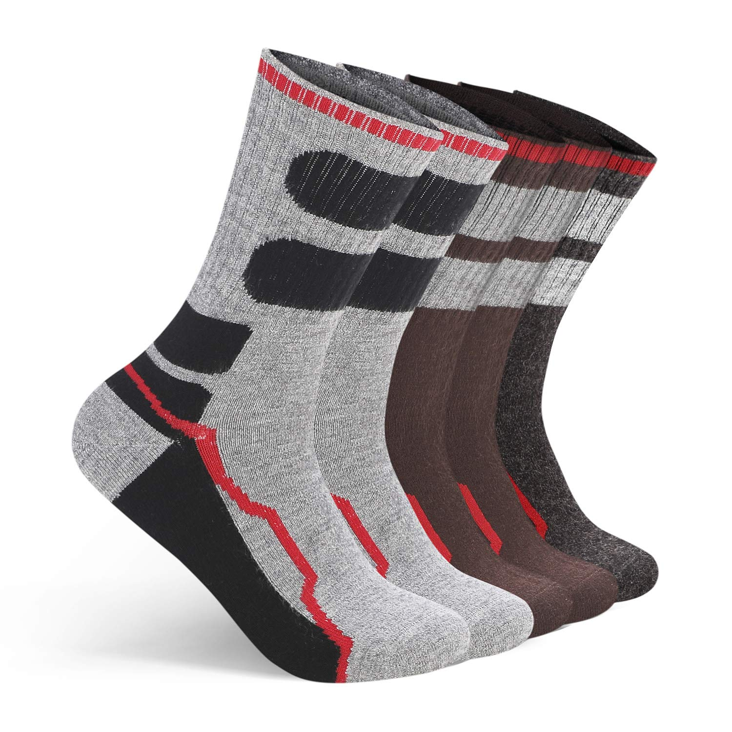 AIMKE 5 Pairs Merino Wool Sock,Athletic Socks Men Hiking Trekking Heavyweight Crew Socks Sweat-wicking and Cushioned Year-round(Style04)  Price: $18.89