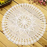 kilofly Handmade Crochet Cotton Lace Table Sofa Doily, Waterlily, White, 22 inch