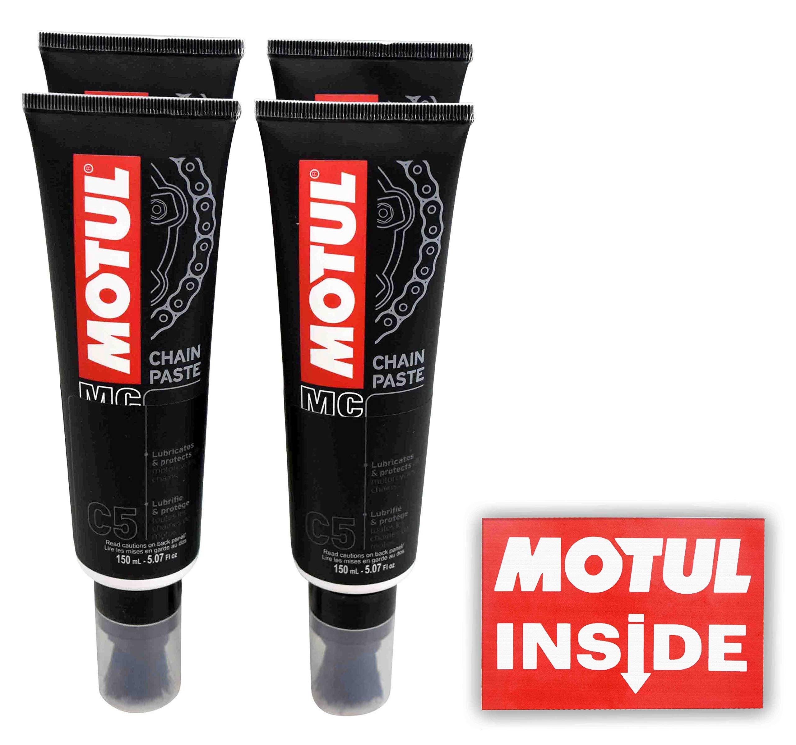 Motul 106513 C5 Chain Paste 4 Pack with No-Mess Applicator Brush Chain Lubricant 150mL Bottle with Premium Motul Sticker (4) by Motul Powersports