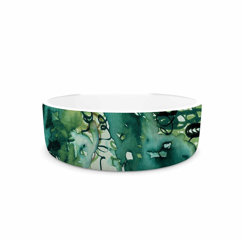 KESS InHouse EBI Emporium Beauty in The Rain, Green Emerald Green Pet Bowl, 7  Diameter