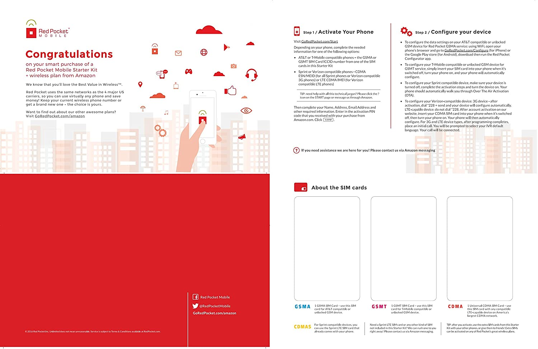 Amazon.com: Rojo Funda de bolsillo para SIM universal Kit ...