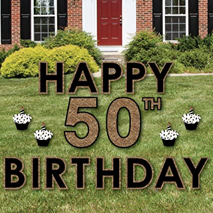 Big Dot Of Happiness Adult 50th Birthday   Gold   Yard Sign Outdoor Lawn  Decorations