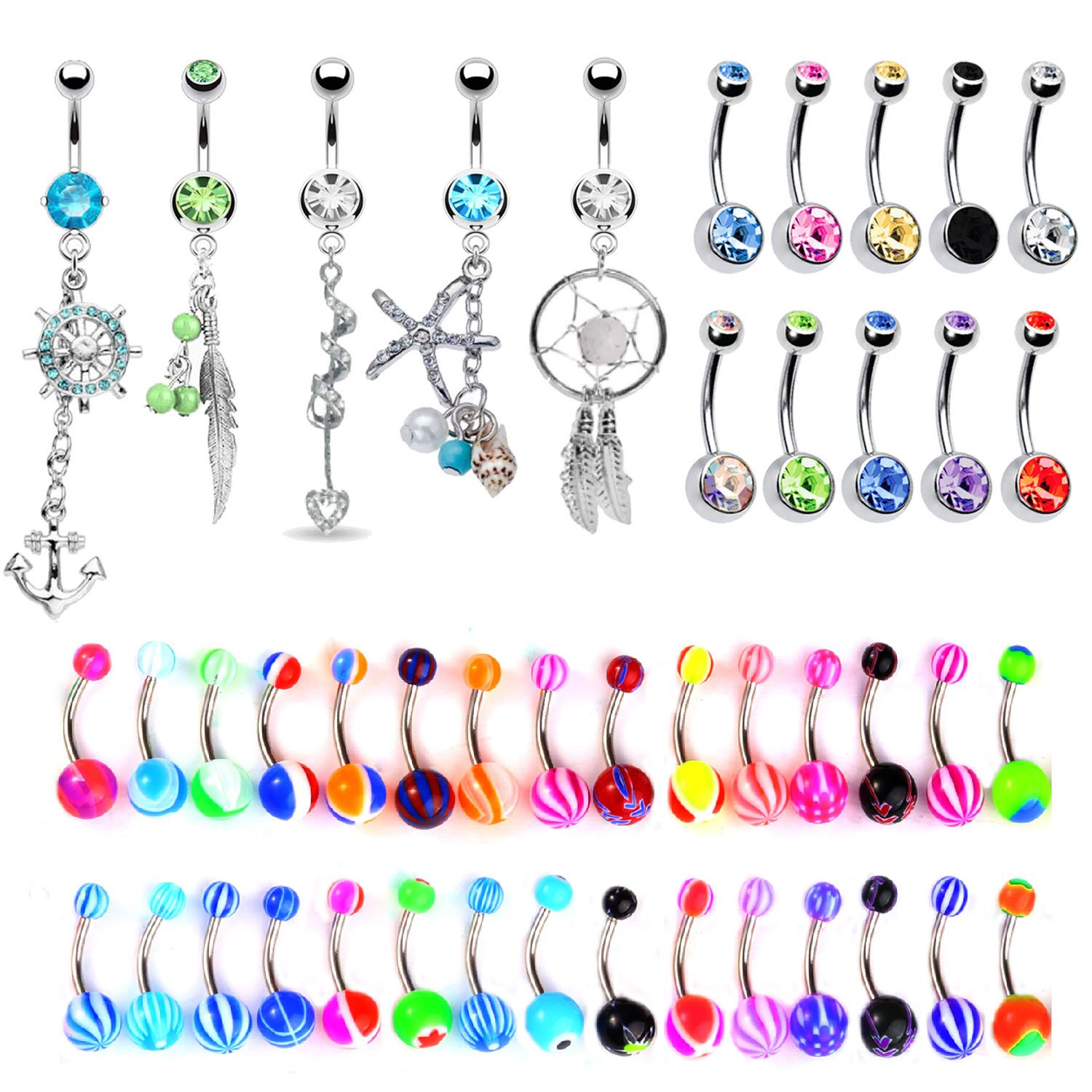 BodyJ4You 65 Belly Button Rings Dangle Barbells 14G Acrylic Stainless Steel CZ Navel Body Jewelry