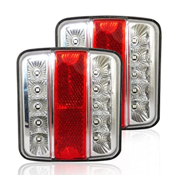 4 FUNCTION SQUARE REAR LAMP with BULBS trailer board light caravan horse box NEW