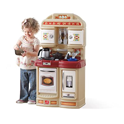 Step2 Cozy Kitchen | Small Play Kitchen For Toddlers | Kids Kitchen Playset for Ages 2+, Brown: Toys & Games