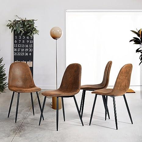 Esszimmerstühle Wildledersitz In Vintage Scandinavian Set 4er Schwarzstoff Stahlbeinen Mit Lederoptik 9WHI2ED