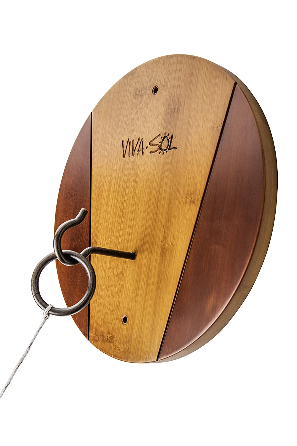 Viva Sol Premium All-Wood Walnut Finish Hook and Ring Target Game for Use Indoors and Outdoors